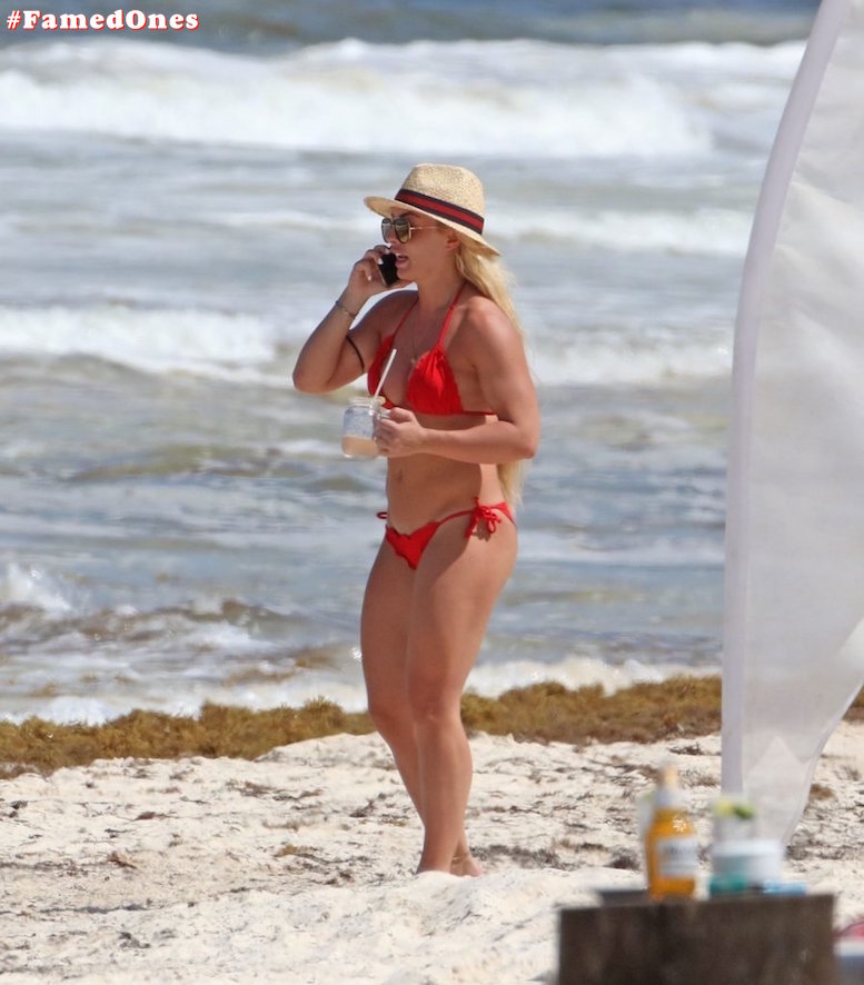 Mandy Rose hot red bikini fappening paparazzi pics FamedOnes.com 001 01