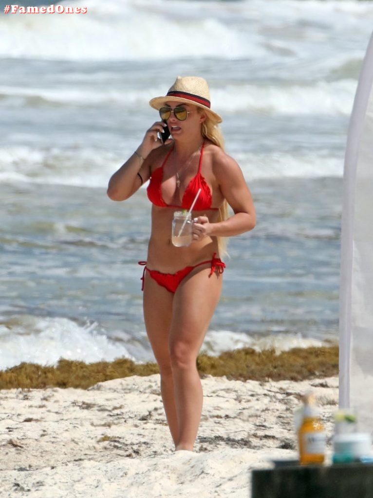 Mandy Rose hot red bikini fappening paparazzi pics FamedOnes.com 001 02