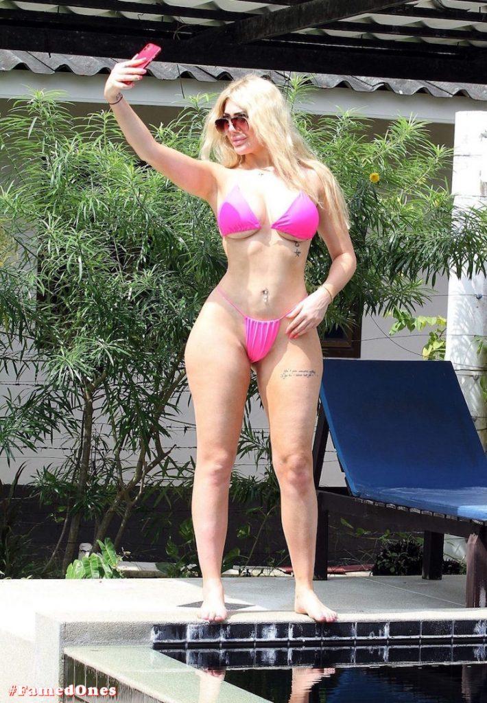 Chloe Ferry hot pink bikini fappening pics FamedOnes.com 074 01